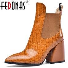FEDONAS נשי חדש גדול גודל צ לסי מגפי עקבים גבוהים מסיבת ריקודי נעלי אישה עור אמיתי באיכות נשים חם קרסול מגפיים