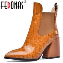 Fedonas feminino novo tamanho grande chelsea botas de salto alto festa sapatos de dança mulher qualidade couro genuíno botas tornozelo quente