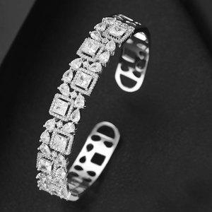 Image 4 - GODKI Trendy Luxury Stackable Bangle Cuff For Women Wedding Full Cubic Zircon Crystal CZ Dubai Bracelet Party Jewelry2019