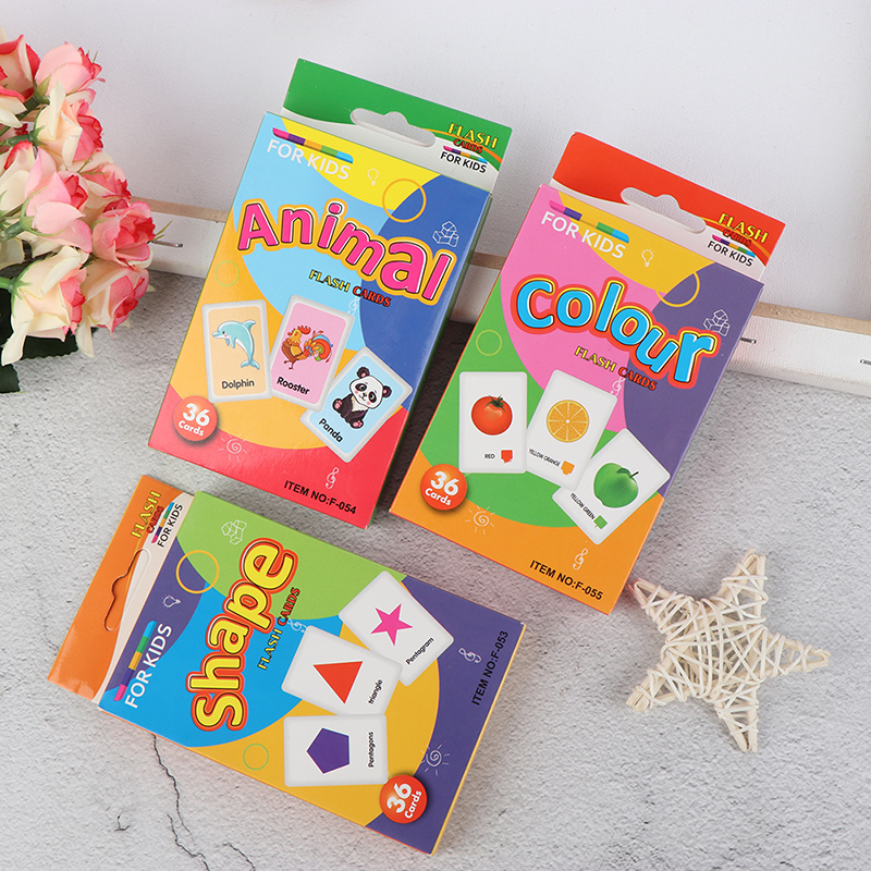 36Pcs Infant <font><b>Children</b></font> Recognition Shape Animal Color Teaching Card Cognitive Flash Puzzle Early Education <font><b>Learning</b></font> <font><b>Toy</b></font> Gifts image