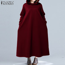 ZANZEA 2020 Vintage Lange Maxi Kleid Frauen Casual Baggy Hoodies Vestidos Langarm Taschen Sweatshirts Solide Party Sommerkleid 5XL(China)