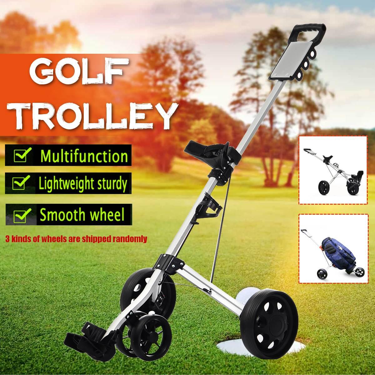 Golf Pull Cart Iron Black Adjustable Golf Trolley Cart 3/4Wheels Push Pull Golf Cart Aluminium Alloy Foldable Trolley With Brake 1
