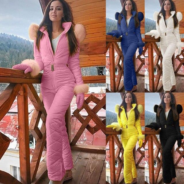 بدلة جامب سوت شتوية جديدة للنساء سترة تزلج بدلة تزلج بسحاب مستقيم قطعة واحدة بدلة جامب فريش للسيدات