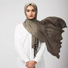 Трендовый женский мусульманский шарф 85*180 см, Женский фуляр, хиджабы большого размера, мусульманские шали, однотонный хлопковый головной платок для женщин