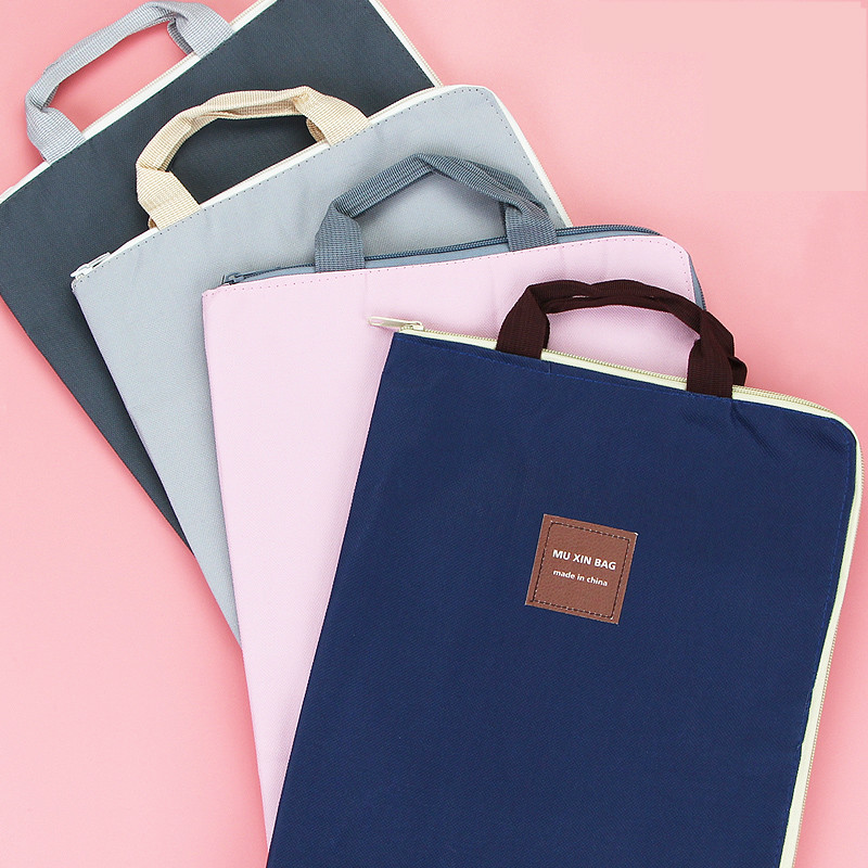 A4 Document File Bag Creative Cute Canvas Student Stationery Bag Colorful Business Document Organizer Filing Products