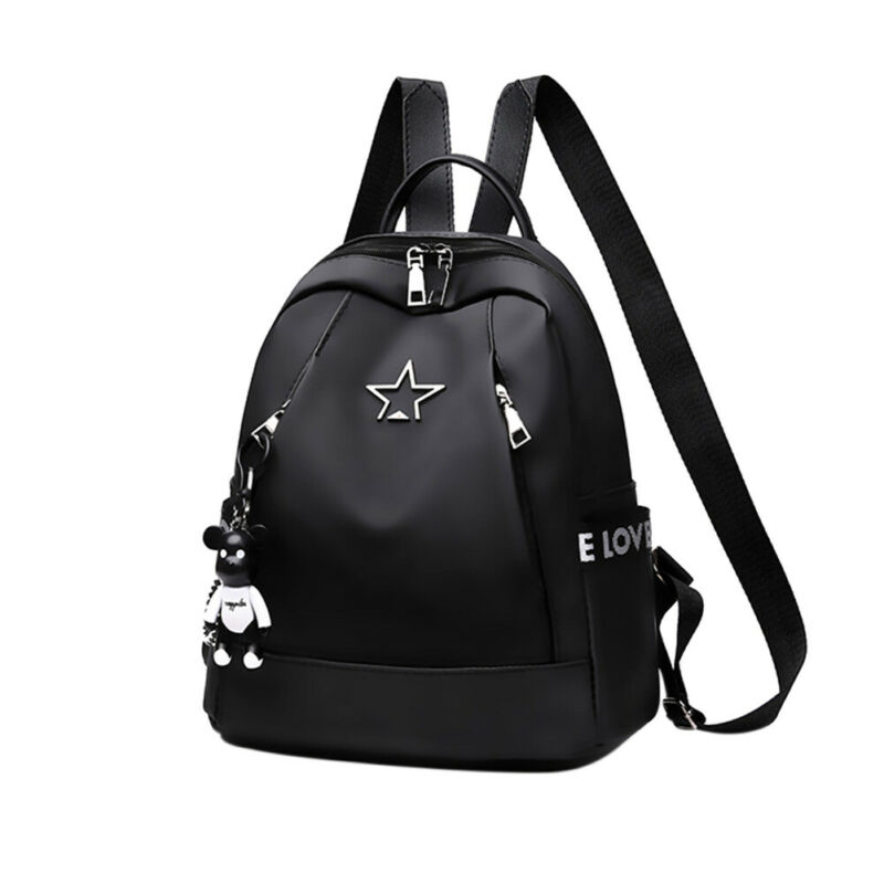 New Women Oxford Waterproof Backpack Black Color School Bag Large Capacity Casual Travel Bag With Bear Pendant