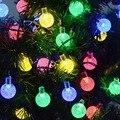 30 светодиодный водонепроницаемый открытый хрустальный шар с пузырьками на солнечных батареях гирлянды для рождественского праздника укра...