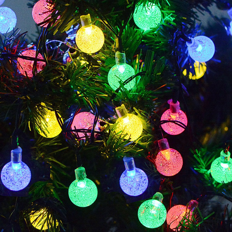 30 LED Waterproof Outdoor Crystal Bubble Ball Solar Powered String Fairy Lights for Christmas Holiday Home Decoration|Solar Lamps| |  - title=