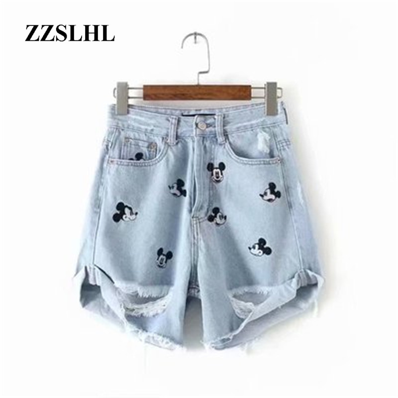 <font><b>Women's</b></font> <font><b>Shorts</b></font> Embroidery High waist cartoon <font><b>Women</b></font> denim <font><b>shorts</b></font> Ladies <font><b>Mini</b></font> <font><b>Shorts</b></font> For <font><b>Women</b></font> <font><b>Sexy</b></font> <font><b>shorts</b></font> Mickey image
