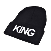 1pc KING Embroidery Beanie Bed Head Knit Unisex Fashion Hat Couple Gifts(China)