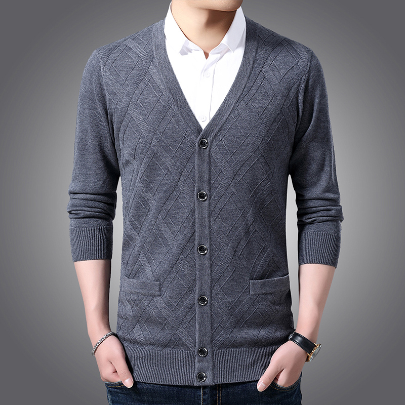 Image 3 - 2020 New Fashion Brand 6% Wool Sweater Men Cardigan V Neck Slim  Fit Jumpers Knitwear Jacquard Winter Casual Men ClothesCardigans   -