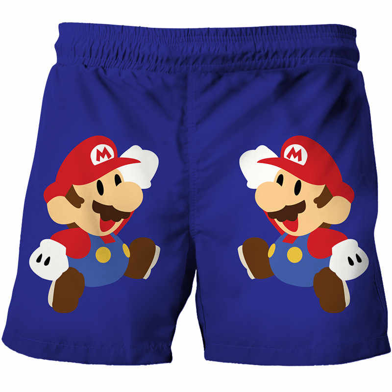 Summer Casual Shorts Mario Brothers Cartoon 3D Print Loose Unisex Beach Shorts