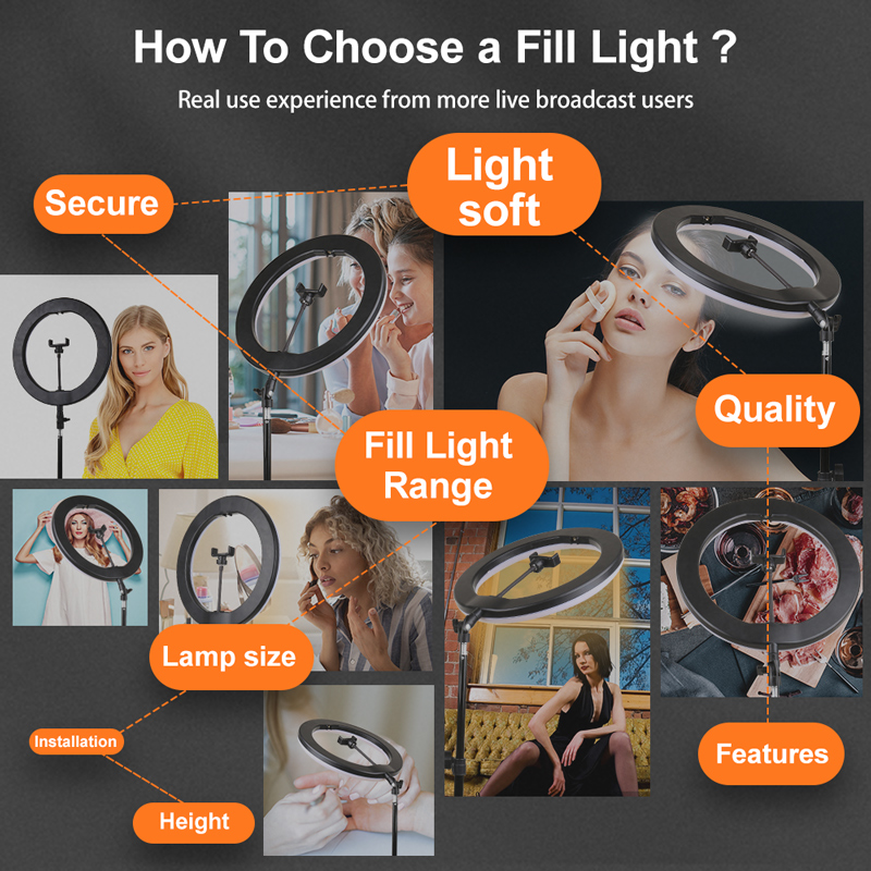 """H9a411c9e10bd493db3dbedcf14c32f40j PYNSSEU 26cm LED Ring Light with 1.1/1.6/2.0M Light Ring Stand Dimmable 10"""" Selfie Ring Lamp with Phone Clip for Youtube Makeup"""