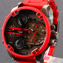 Men's watch new fashion Couple watches   Casual Male Europe style  round shape  Steel Band Quartz  wristwatch  red 7370