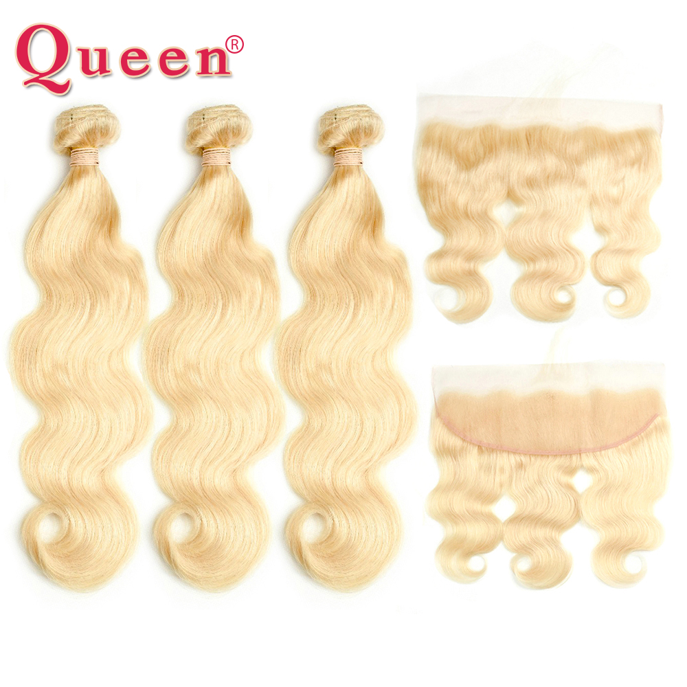 Queen <font><b>Hair</b></font> Brazilian <font><b>3</b></font> or 4 <font><b>Bundles</b></font> With Frontal Closure <font><b>Body</b></font> <font><b>Wave</b></font> <font><b>613</b></font> Blonde Color Non-Remy <font><b>Hair</b></font> <font><b>Bundles</b></font> With 13x4 Frontal image