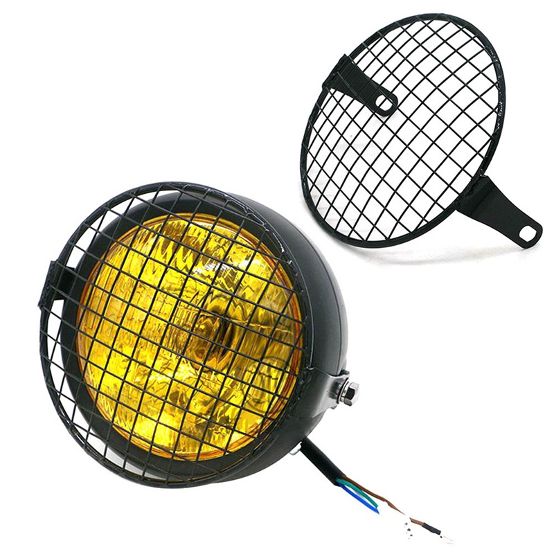 5.75inch Universal Motorcycle Front Round Headlight Lampshade Mesh Grill Mask Protector Guard Cover