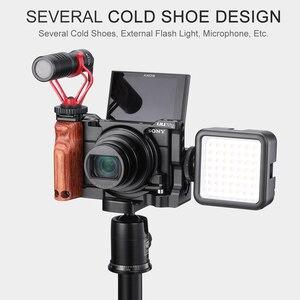 Image 5 - UURig Vlog هيكل قفصي الشكل للكاميرا مع مقبض الخشب قبضة اليد المزدوج الباردة الحذاء جبل تلاعب لسوني RX100 VI/السابع كاميرا الملحقات