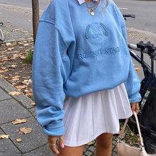 Y2K esthétique lettre broderie surdimensionné sweats Harajuku 90s mode solide col rond à manches longues haut automne tenue