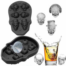 3D Schädel Geformt Silikon Eisform Schokolade Popsicle Formen Candy Bar Whisky Ice Cube Maker Ice Tray Küche DIY Gadget 4/6 Grid(China)