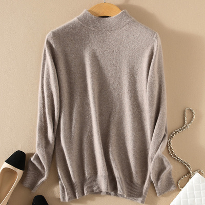 Women Cashmere 2021 New Autumn Winter Vintage Half Turtleneck Sweaters Plus Size Loose Wool Knitted Pullovers Female Knitwear11 15