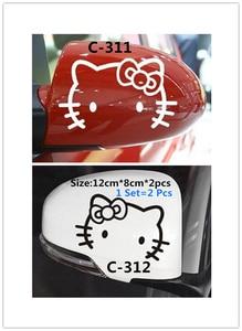 Image 2 - 1 مجموعة = 2 قطعة ملصق سيارة بات ألياف الكربون سيارة ملصقا مرآة الرؤية الخلفية سيارة ملصقا لطيف ديكور سيارة ملصقا وجه مبتسم