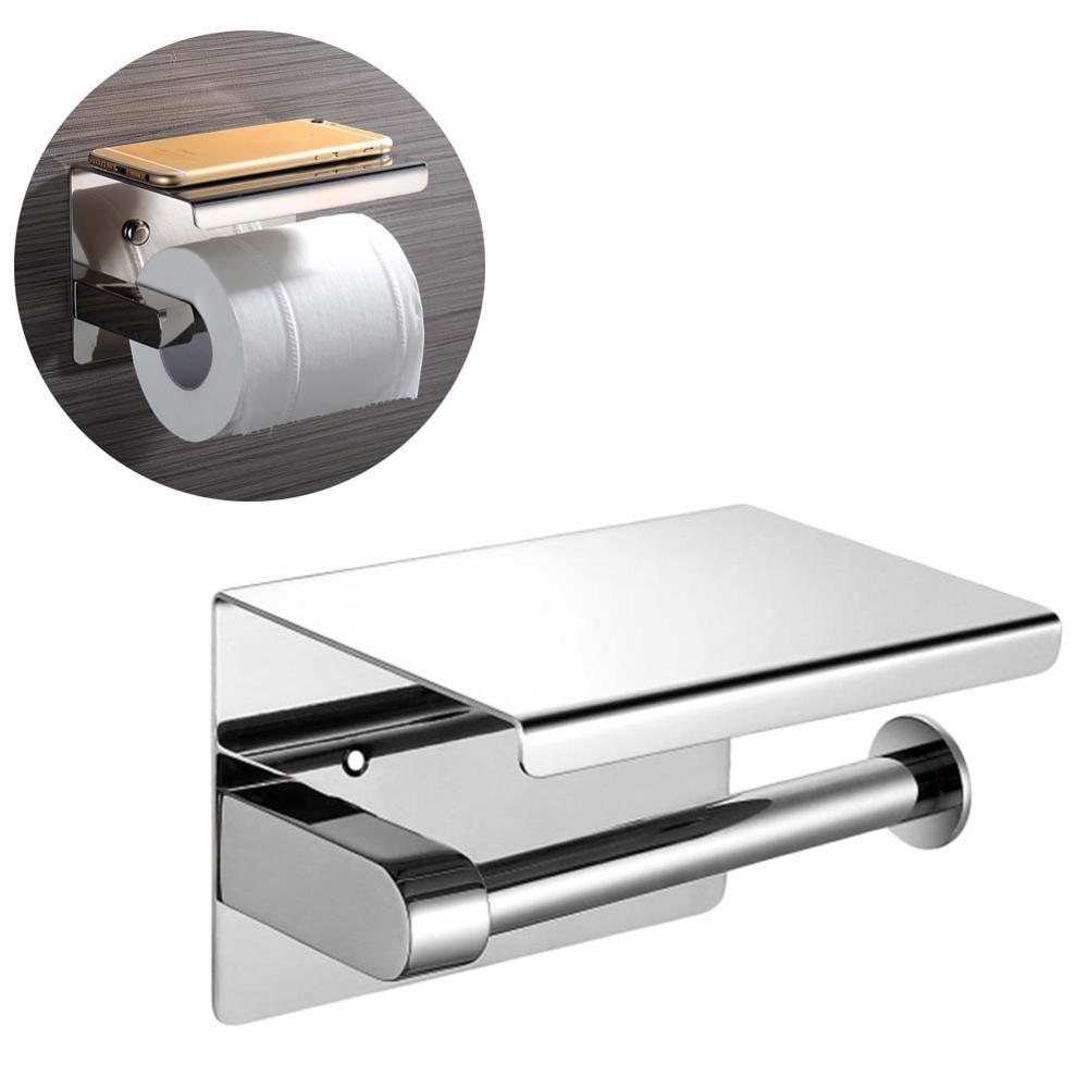 Tissue Hanging Holder Toilet Roll Paper Holder Bathroom Stainless Steel Towel Rack Wall Mount Holder Hanger With Rack Shelf