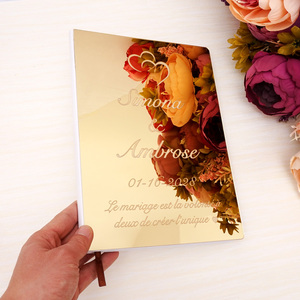 Creative Wedding Signature Guest Book Personalized Mirror Cover Custom Name Party Decor Favors Gift Different Design