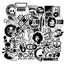 50 pçs preto e branco aleatório dos desenhos animados pvc brinquedos adesivos frescos para crianças bagagem notebook portátil adesivo bomba carro-estilo