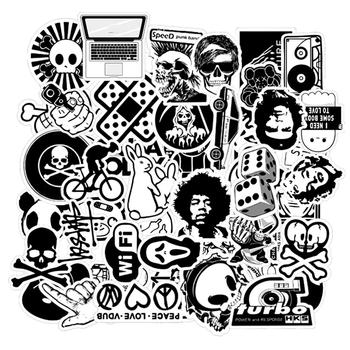 50 sztuk czarno-białe losowe kreskówki zabawki z PVC fajne naklejki dla dzieci dzieci bagaż Notebook naklejka na laptopa bomba samochód stylizacji tanie i dobre opinie CN (pochodzenie) 0 1cm Sun protection and Waterproof Stickers Black and White Travel Luagge Laptop Car Decal