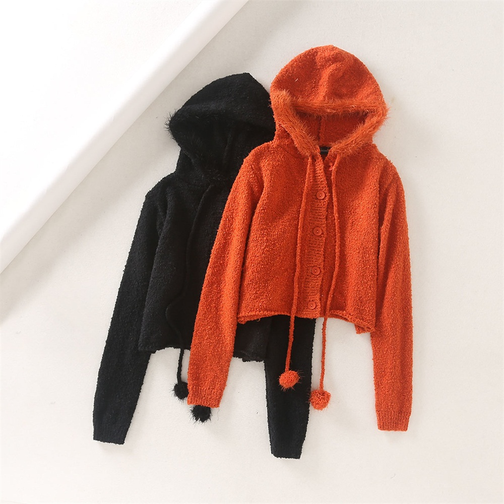 Ladies Knitted Cardigan Fashion Woman Solid Hooded Sweater Female Long Sleeve Cute Chic Soft Jumpers Sweater