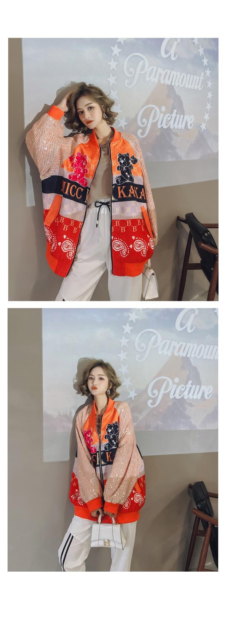 H9a4213a95ab248a7912ea071cf3e0030H 2021 Spring Women Long Sequins Print Patchwork Loose Coat