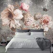 Papel pintado Mural personalizado estilo europeo Vintage pintura al óleo flor Floral Fresco sala de estar dormitorio decoración de pared foto papel de pared