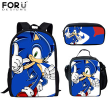 FORUDESIGNS Kids Boys School Bags Hot Game Sonic The Hedgeho