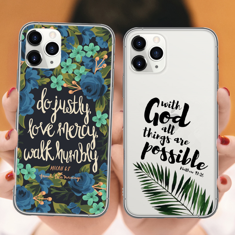 Phone Case For iPhones X 6 6S 7 8 Plus XS Max XR 11Pro Max bible Quotes Christian Religious Jesus Cross TPU Cover For iPhones 11 image