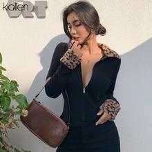 KLALIEN zipper Mosaic leopard Women Jackets Female Coat 2020 black turndown collar Long Sleeve high quality Outerwear