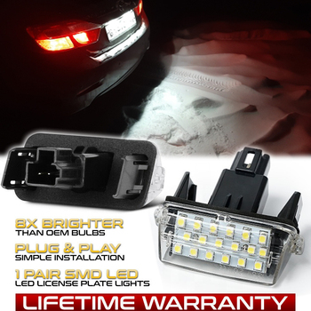 цена на 2Pcs LED License Number Plate Light Lamps For Toyota Highlander Vitz Ractis Verso S Voxy Yaris EZ SAI Noah Proace Car-styling