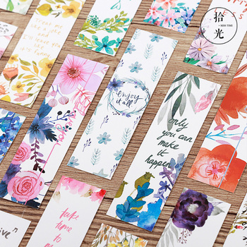 30Pcs/pack Kawaii Poetic flower boxed paper art small fresh bookmarks stationery school supplies kids gift a pack of summer fresh plants paper bookmark 30 pieces different design great gift