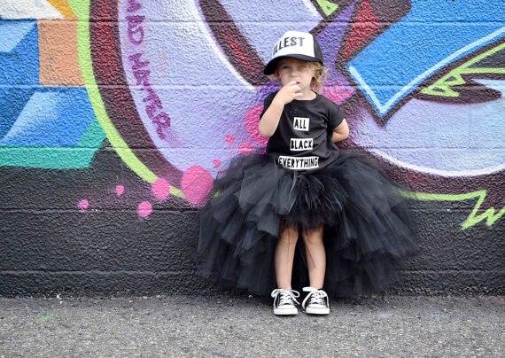 Unicórnio menina longo tutu saia preta linda princesa meninas festa de aniversário saias fotos vestido de baile traje roupas invory