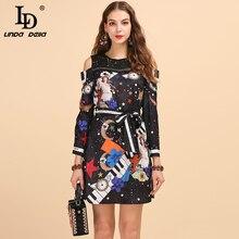 LD LINDA DELLA Autumn Fashion Runway Vintage Dress Women's Long Sleeve Lace Patchwork Belted Elegant Angel Space Printed Dress elegant flounce lace belted dress for women