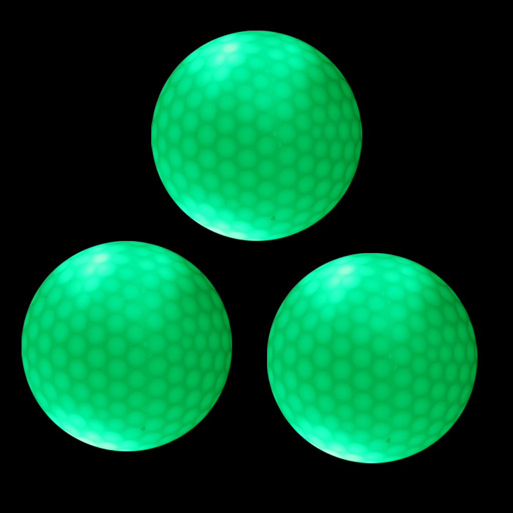3 Pieces Glow In Dark Green LED Light Up Golf Ball Official Size Weight