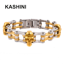 Skull Punk Motorcycle Chain Bracelets Men 316L Stainless Steel Golden Steel Color Bicycle Bracelet Jewelry Men equte bssm5c3 316l stainless steel golden link bracelet 9