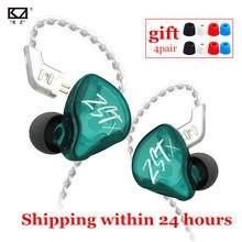 Kz zst x 1ba 1dd tecnologia híbrida de alta fidelidade em fones ouvido baixo earbud esporte cancelamento ruído fone de ouvido kz zsn pro zsx zs10 pro c12