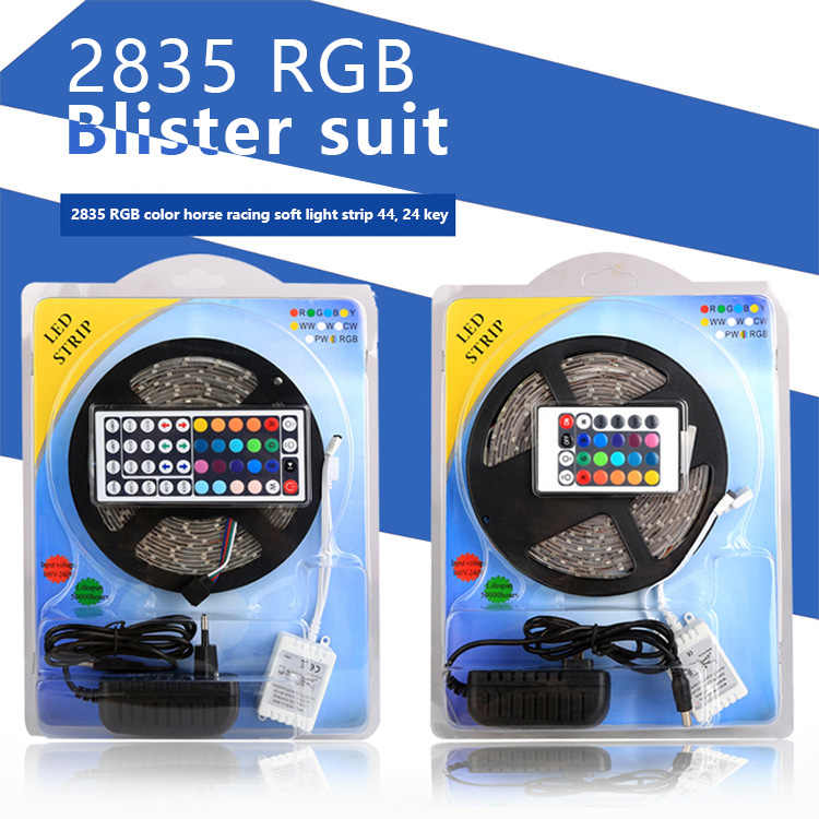 Светодиодная лента RGB 5050 SMD 2835 гибкая лента светодиод 5 м водонепроницаемая лента диод DC 12V + пульт дистанционного управления + адаптер