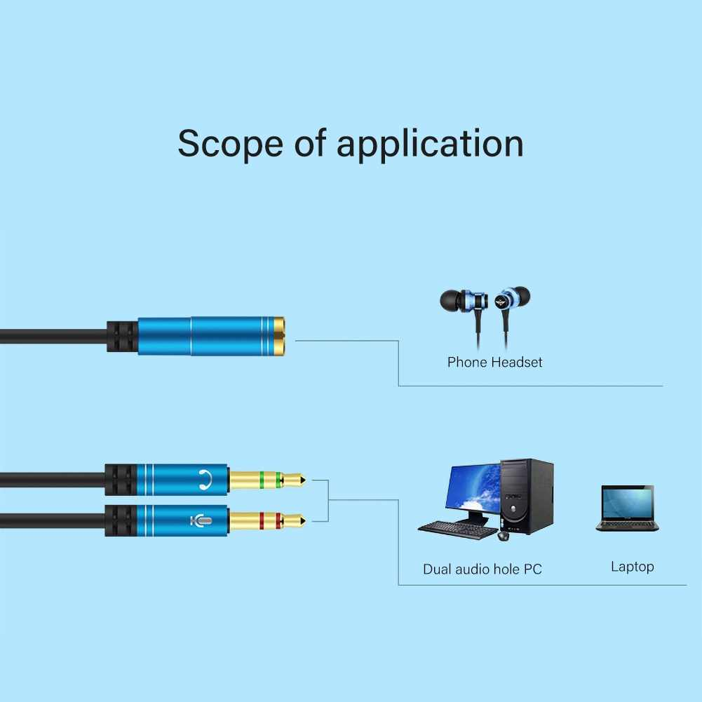 3.5mm Jack Headphone Microphone Y Splitter Adapter Audio Cable AUX Extension 2 Male To 1 Female Cables For PC Laptop Computer
