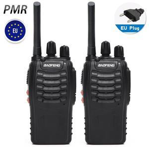 Image 1 - 2 pièces Baofeng BF 88E PMR Version mise à jour du talkie walkie 888S avec chargeur USB UHF 446 MHz 0.5 W 16 CH Radio Portable Portable