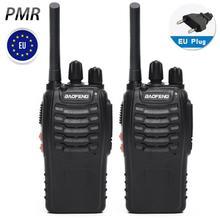 2PCS Baofeng PMR BF 88E Versão Atualizada do 888S Walkie Talkie com Carregador USB UHF 446 MHz 0.5 W 16 CH Rádio Portátil Handheld