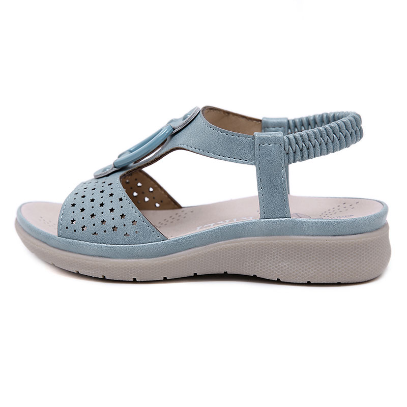 GENSHUO 2020 Summer Girl's Sandals Bohemia Children's Beach Shoes T strap Slip on Platform Shoes Breathable Soft PU Leather Shoe Sandals     - title=