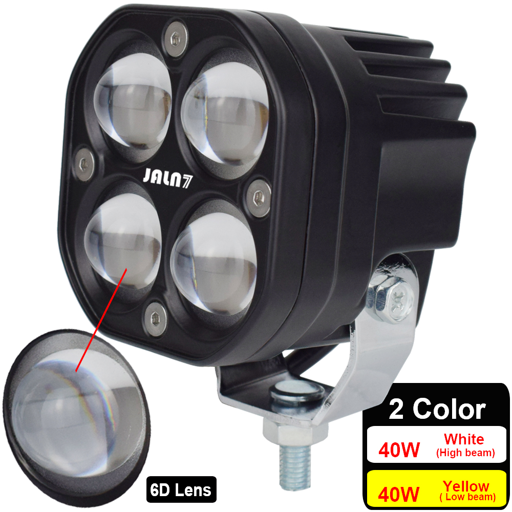 JALN7 LED Light 40W Car Headlight Motorcycle Bulb 6D Lens Truck ATV UTV White Yellow Fog Lamp High Low DC12V 24V 6000K 3000K SUV