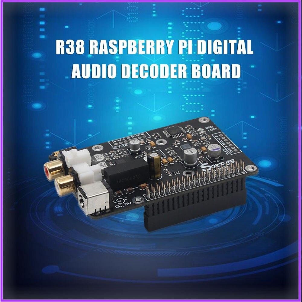R38 es9038 q2m leitor de rede de transmissão digital raspberry pi dac i2s 384k dsd 128 com caixa de metal para raspberryp pi 3b/3b +/4b