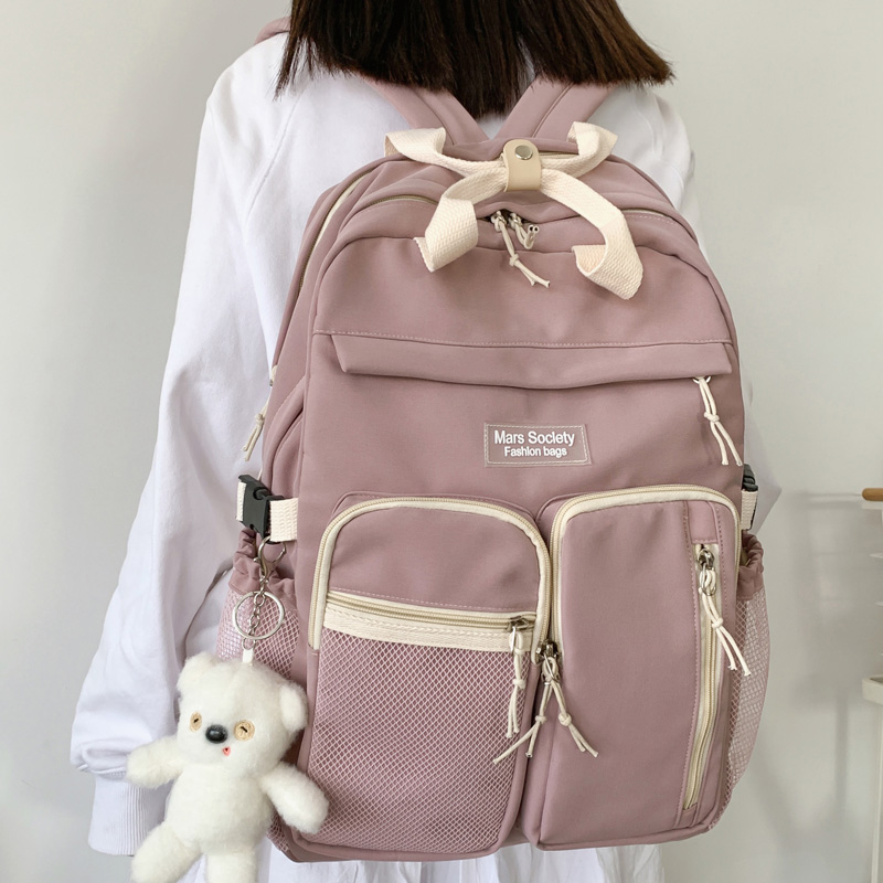 DIFA Portable Buckle Multiple Pockets Women Backpack Female Double Layer Waterproof Nylon School Bag Schoolgirl Laptop Backpack
